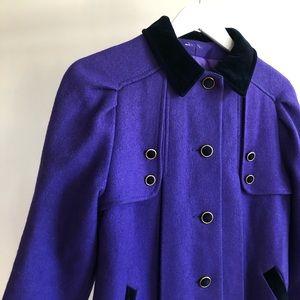 VTG 1980s Purple Wool Pleated Velvet Collared Coat